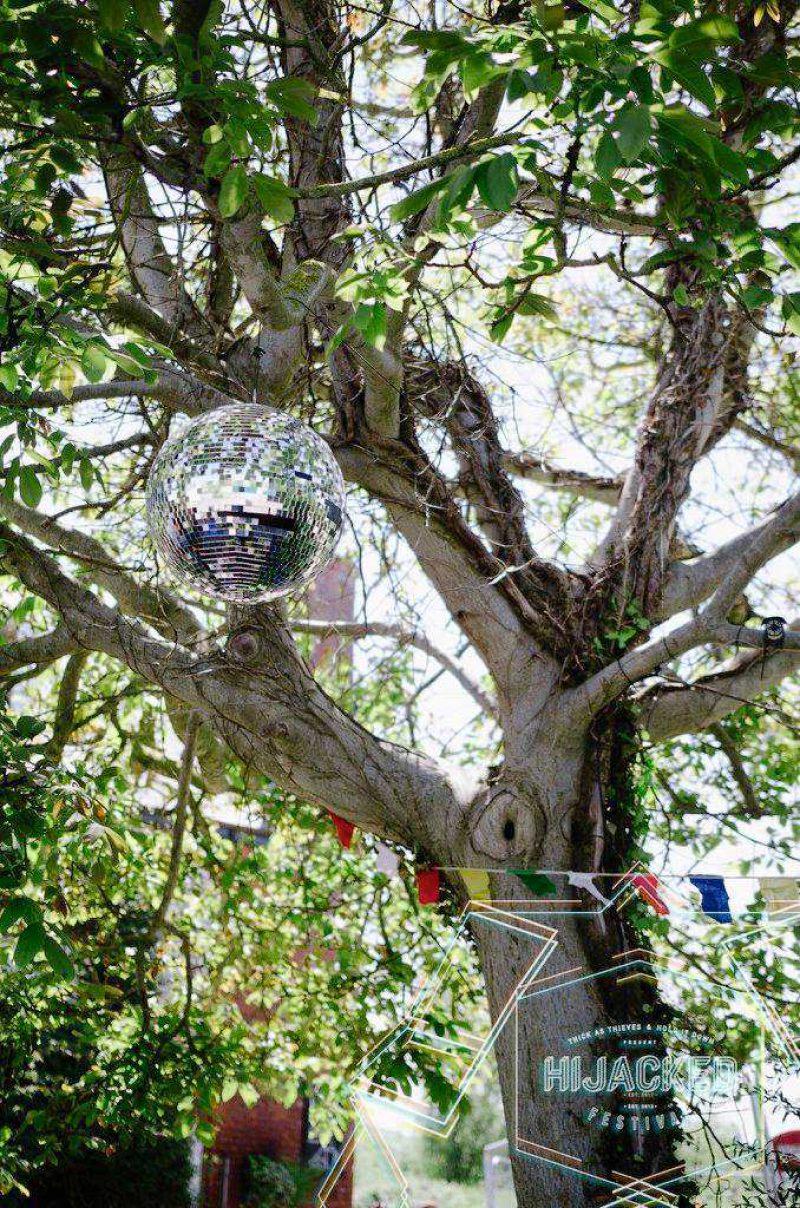 disco ball on a tree